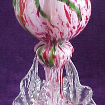 Antonin Ruckl & Sons Bohemian Pink and Green Spatter Glass Vases - Art Glass