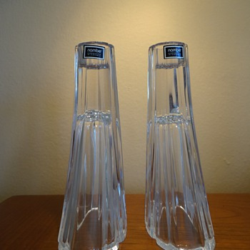 VINTAGE NAMBE  CRYSTAL CANDLE HOLDERS - C.1990&#039;S - Art Glass
