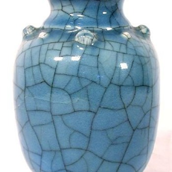 Identification Help - Asian Vase with Blue Crackle Glaze - Asian