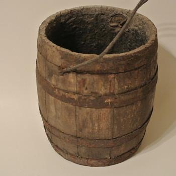 Old Wood Small Staved Barrel Bucket - Barn Find - Bottles