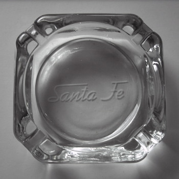 Two Santa Fe Railway Passenger Car Ashtrays