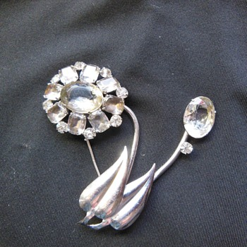 Unusual Flower Smoke Rhinestone Brooch - Costume Jewelry