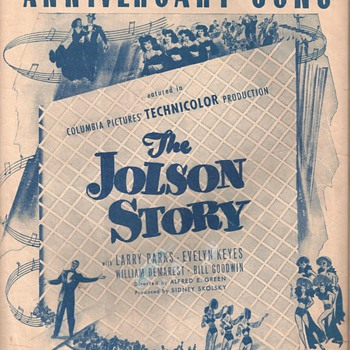 "ANNIVERSARY SONG "" THE JOLSON STORY"" - Music Memorabilia"