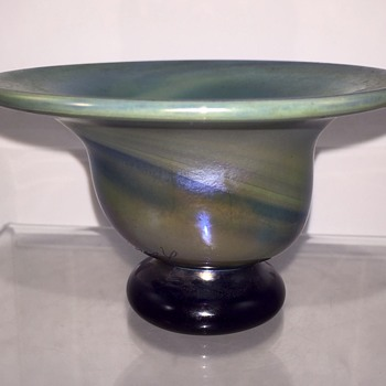 Early Charles Lotton miniature celadon/blue swirl iridescent footed bowl, 1973
