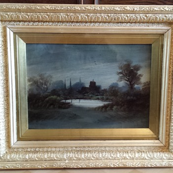 Unkown oil painting English village. - Victorian Era
