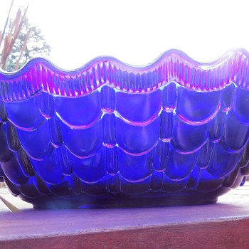 Moulded Cobalt Blue Glass Bowl / Vase Centrepiece