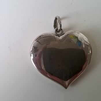 Large .835 Silver Heart Pendant, Thrift Shop Find $2.00