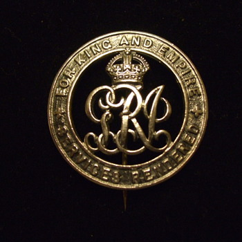 "KING GEORGE V  Silver ""SERVICES RENDERED BADGE"" W.W.I - Military and Wartime"