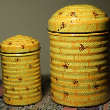 Two Old Tins - Honeycomb and Bees - Advertising