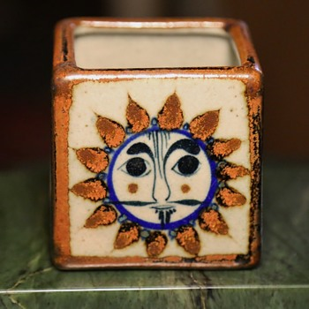 small little talavera [?] cube box with mr. sun - Mexican? Italian?