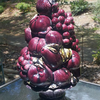 Purple Fruit Bowl Centerpiece  - Art Pottery