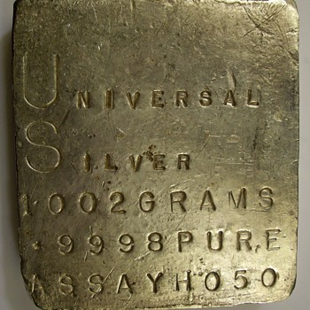 Universal Silver Kilo Slab 1002 Grams .9998 fine