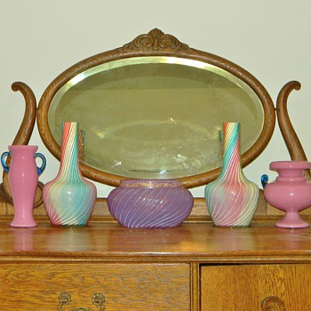 Early Loetz Rainbow, Heliotrope & Kralik Handled Vases