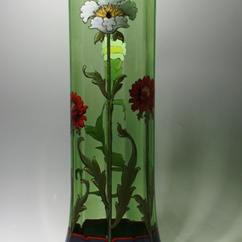 Harrach Art Nouveau Enameled Vase - Art Glass