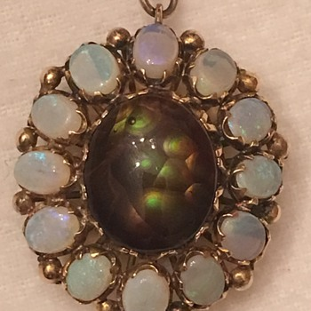 Opal & Fire Agate Gold Pendant
