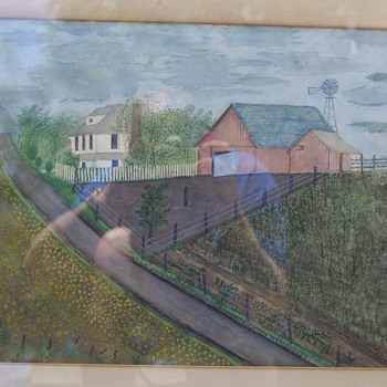 Latest yard sale find!  Clara McDonald Williamson watercolor - Folk Art