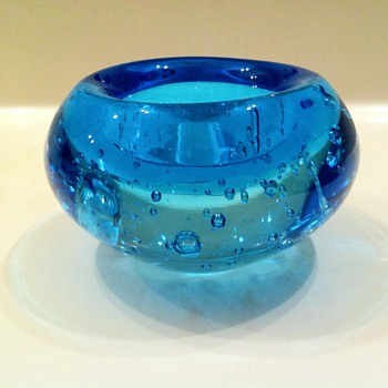 Cobalt Blue Candle Votive with bubbles - Lamps
