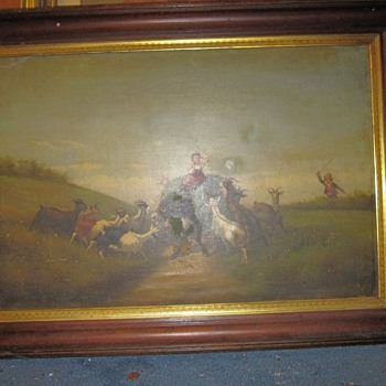 Unsigned Antique Painting of Landscape Sheep Little Bo Peep?