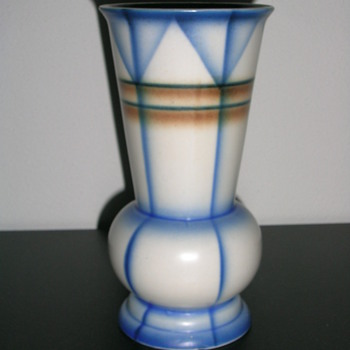 soft blue brown vase - Art Pottery