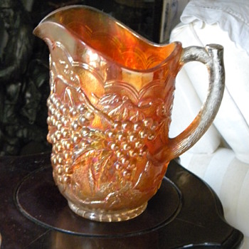 Another Carnival Glass Marigold Grape Pitcher Japanese Grandfather Brought Back to Japan - Art Glass