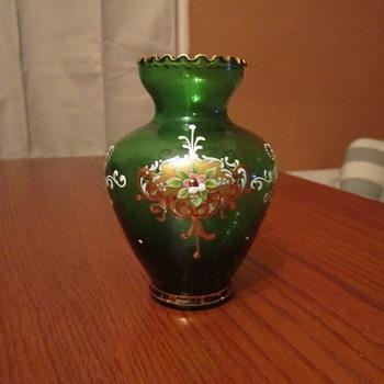 Bohemian Moser Vase Gilted Gold & Enamel Floral Motif 5' x 3-1/4