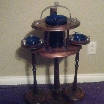 smoker ashtray stand by H.T Cushman - Tobacciana