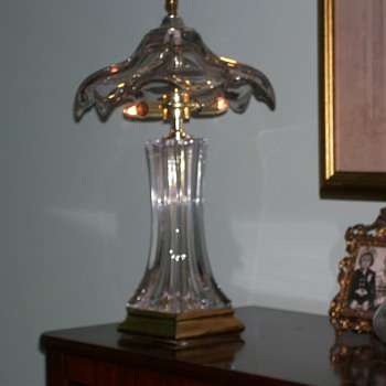 Glass and Brass Boudoir Lamp 19""