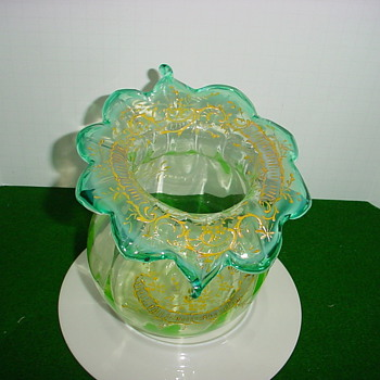 Beautiful, Hand Blown green/blue Free Form Vase - Art Glass