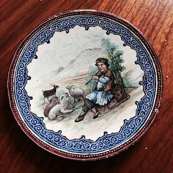 Small enamel dish European scene