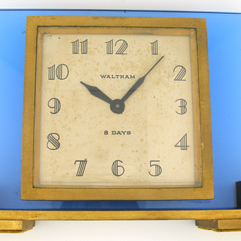 1940's Waltham 8 Day Blue Glass Desk Clock - Clocks