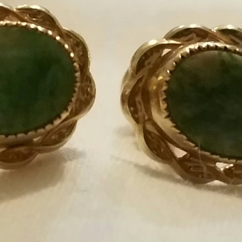 Vintage green and gold earrings