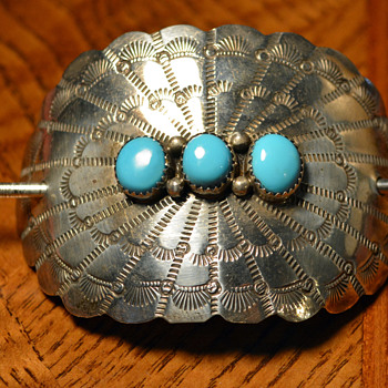 Sterling Silver and turquoise stick Barrette