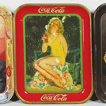 1953 Menu Girl Girl Tray,1932 Girl in  Yellow Bathing Suit,1923 Flapper Girl