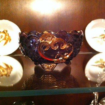 Amethyst Pitcher and footed berry bowls - Glassware
