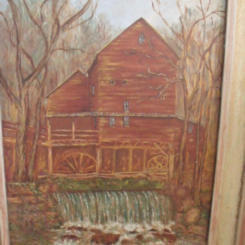 Hodgson's grist mill painting - Artist?? - Folk Art