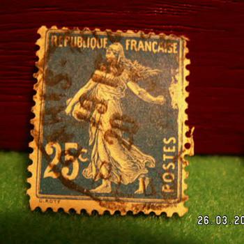 Vintage Republique Francaise 25c Stamp ~ Used