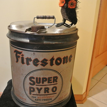 Vintage Five Gallon Firestone Super Pyro Anti-Freeze w/Wooden Handle
