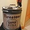 Vintage Five Gallon Firestone Super Pyro Anti-Freeze w/Wooden Handle