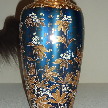 Loetz Metallin with enamel decoration.  - Art Glass