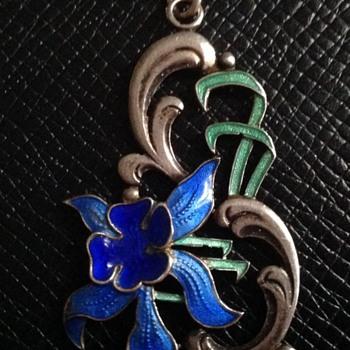 Silver enamel pendant  - Art Nouveau