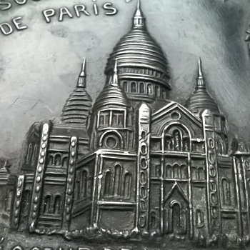 """Very Addams Family"" 1880s/1890s Metal Paris Souvenir Tray. - Advertising"