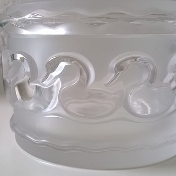 Signed Lalique Canards Crystal Lidded Dressing Table Box Thrift Shop Find $1.50 - Art Glass