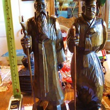 # 13440239 - Handcrved Elderly Korean Men Statues  I DO NOT THINK SO!!! - Asian