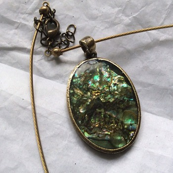 Vintage enamel on brass pendant