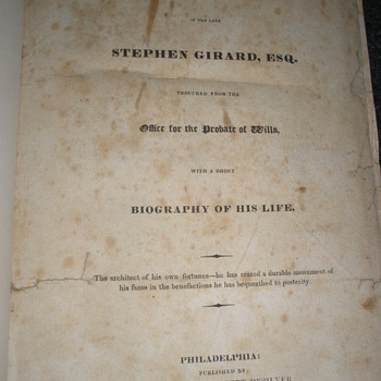 1832 Rare Copy of Stephen Girard's Will - Books