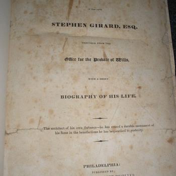 1832 Rare Copy of Stephen Girard's Will - Books