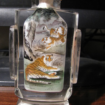 Chinese reverse painting of tigers inside glass snuff bottle - Bottles