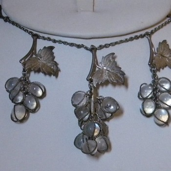 Antique Victorian Grape Moonstone lavaliere Silver Necklace Drop