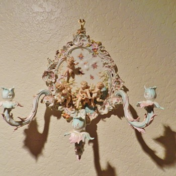 Crazy European Porcelain Hanging Candelabra - Mark? - Victorian Era