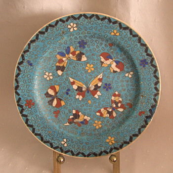 Late 19th Japanese KINKOZAN Cloisonne Pottery Plate Signed